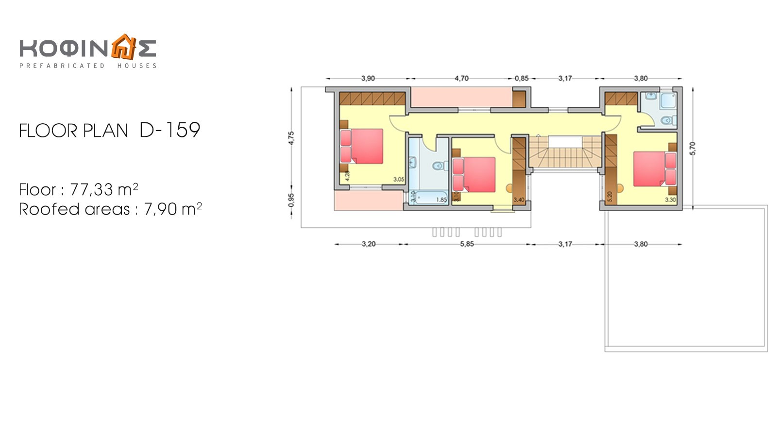 2-story house D-159, total surface of 159,96 m²