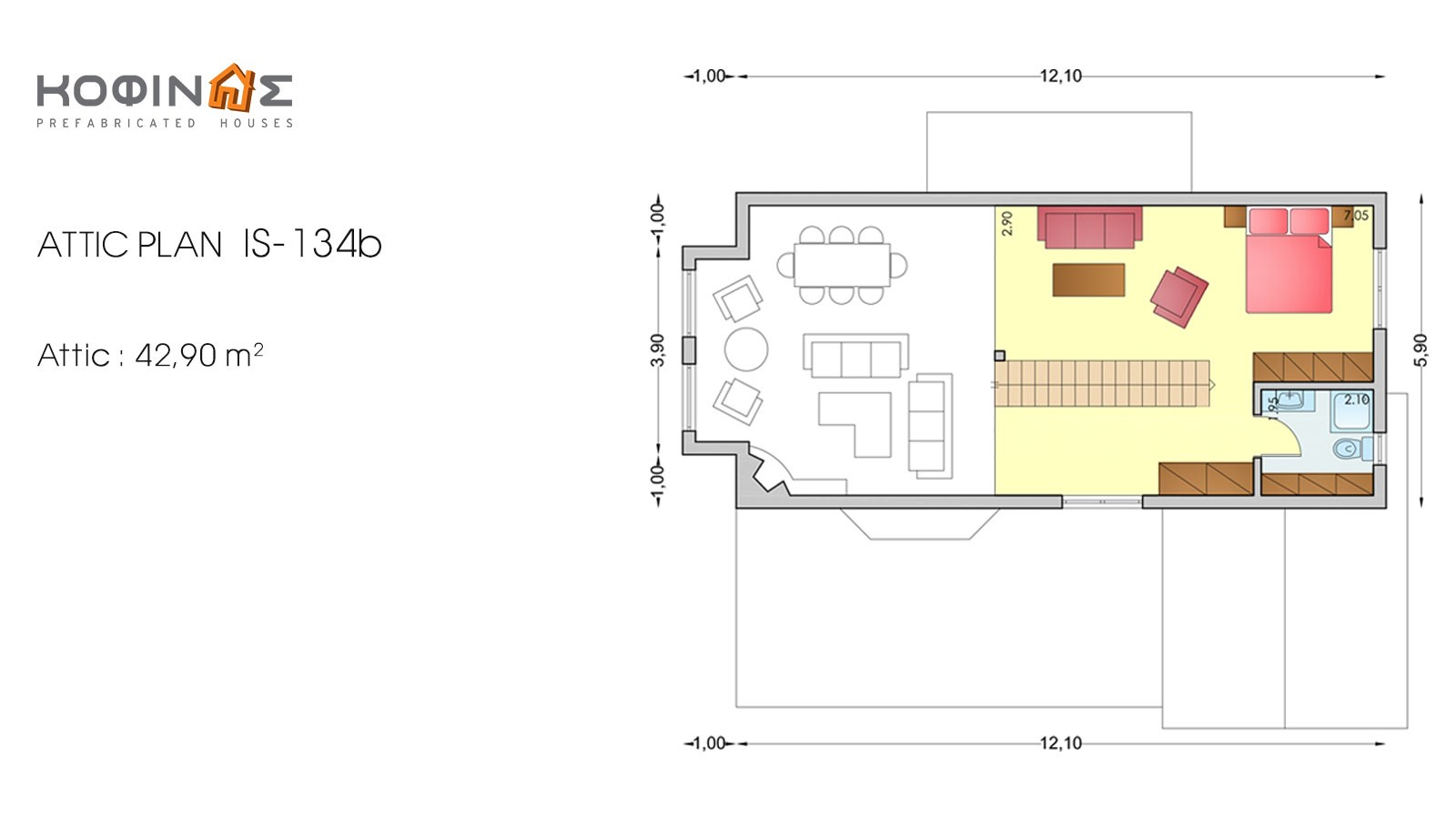 1-story house with attic IS-134b, total surface of 134,25 m²