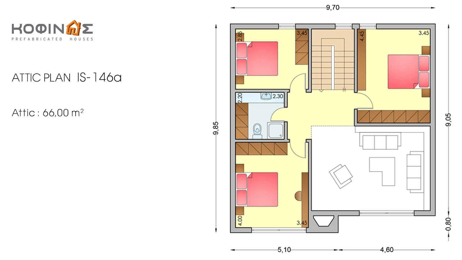 1-story house with attic IS-146a, habitable space of 146,57 m²