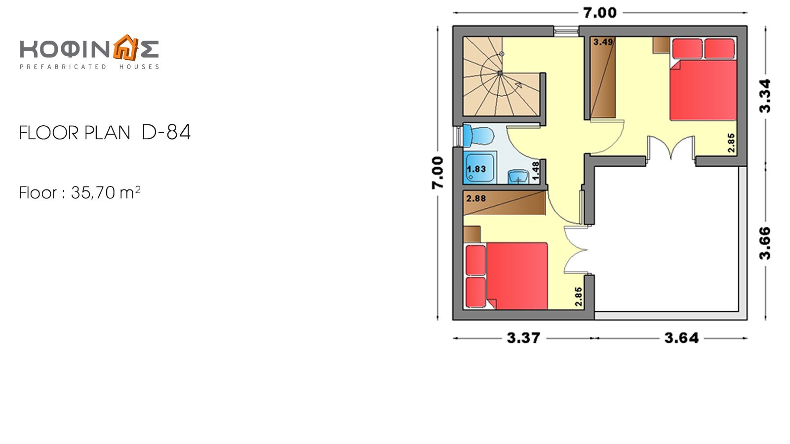 2-story house D-84, total surface of 84,70 m²