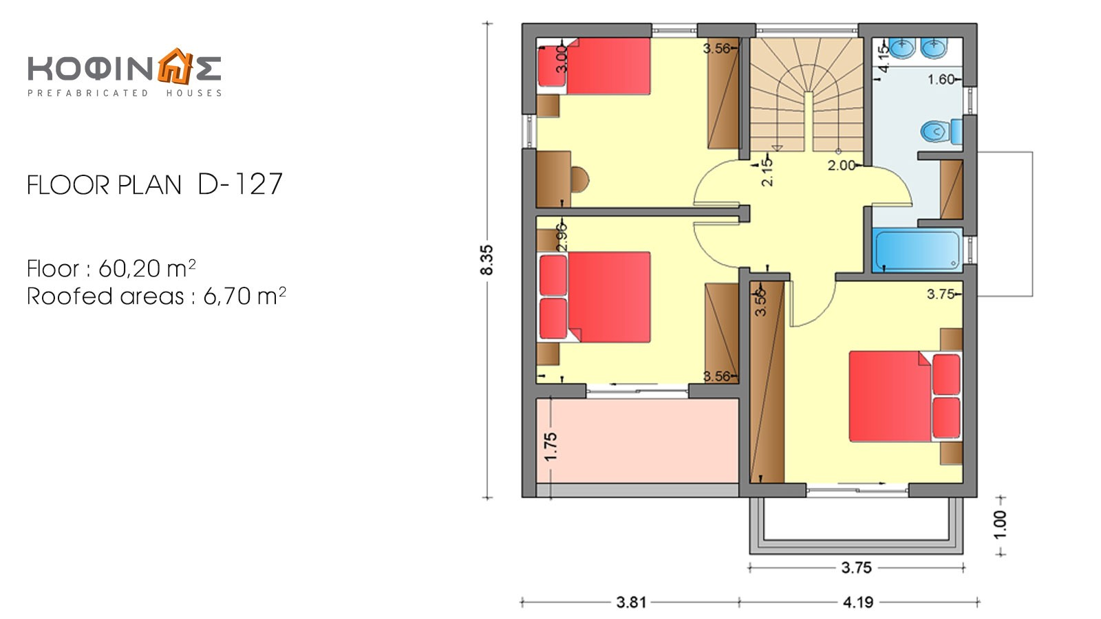 2-story house D-127, total surface of 127,00 m²