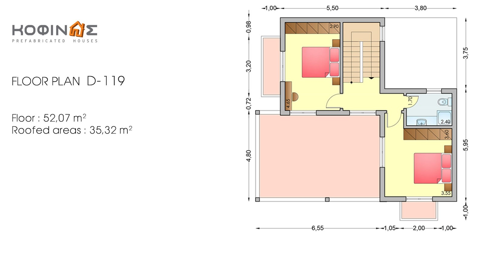 2-story house D-119, total surface of 119,35 m²