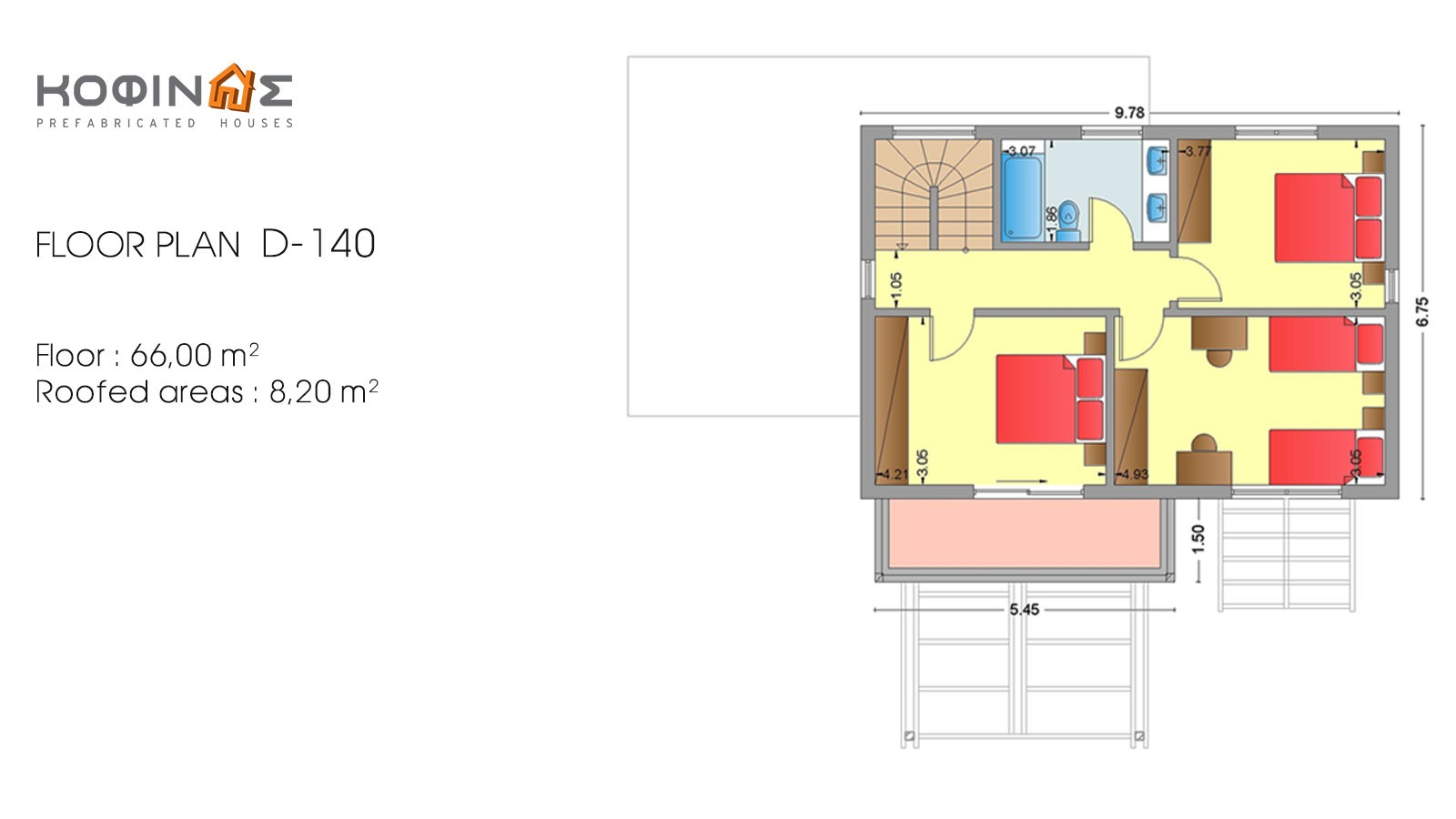 2-story house D-140, total surface of 140,20 m²