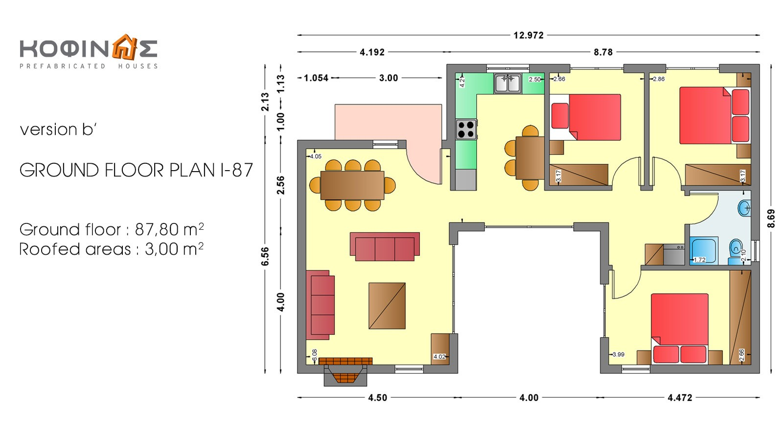 1-story house I-87, total surface of 87,80 m²