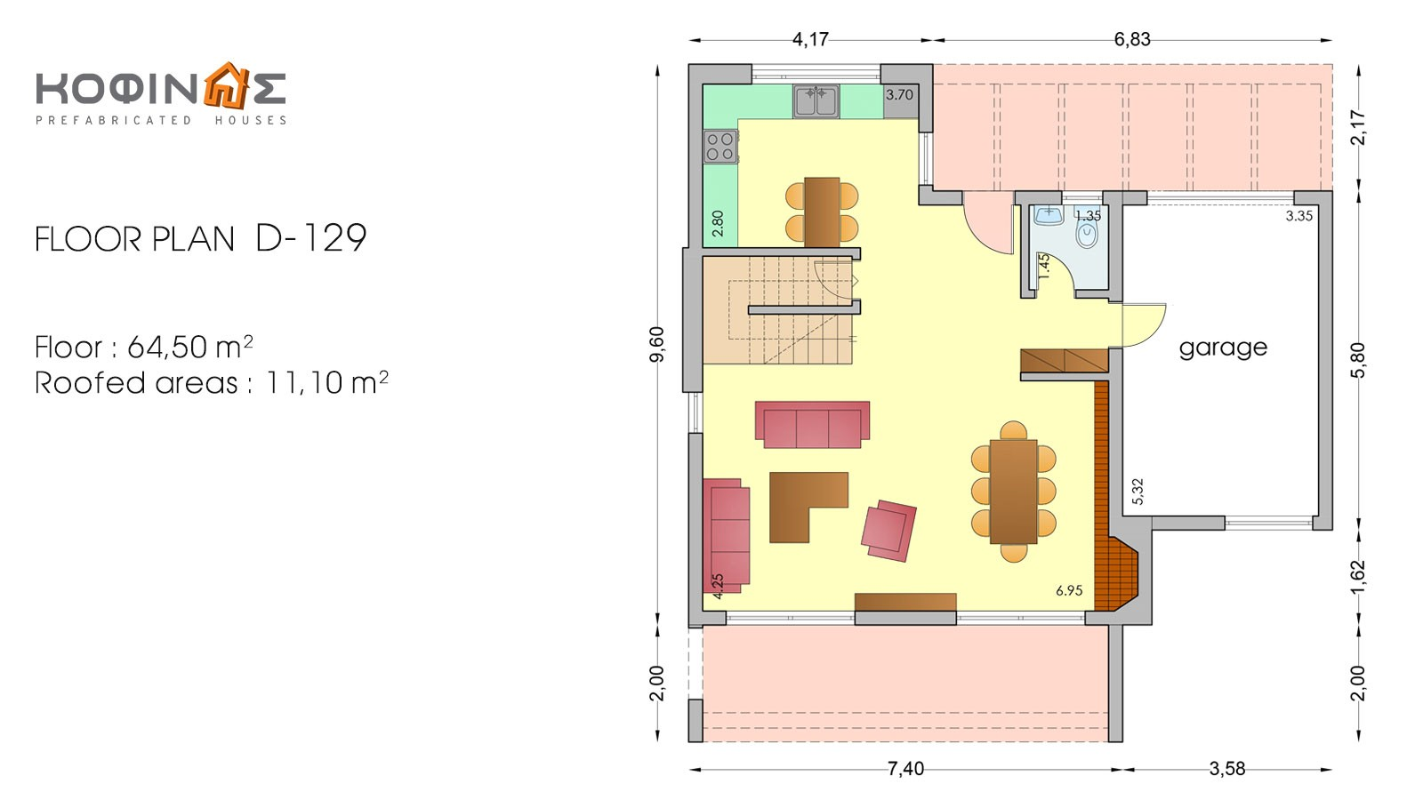 2-story house D-129, total surface of 129,50 m²