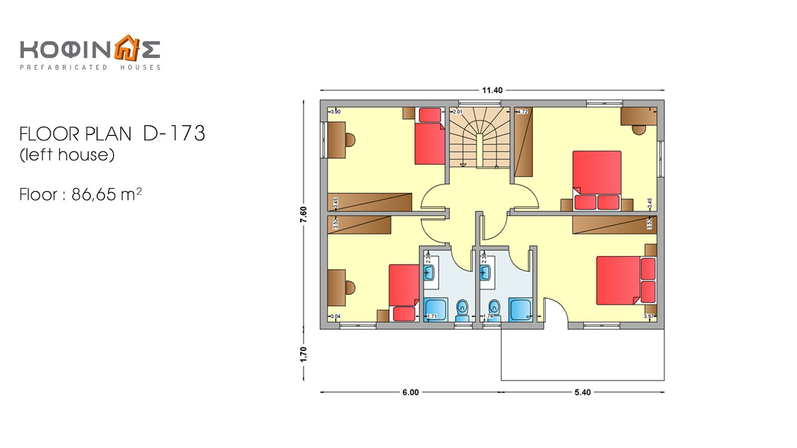 2-story house D-173, total surface of 173,30 m²