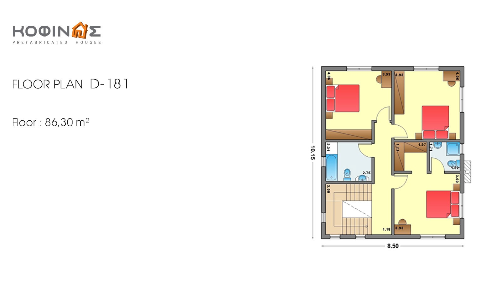 2-story house D-181, total surface of 181,90 m²