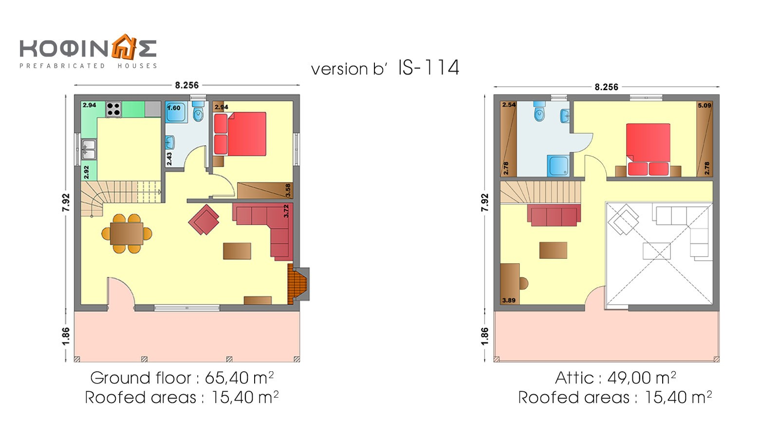 1-story house with attic IS-114, total surface of 114,40 m²