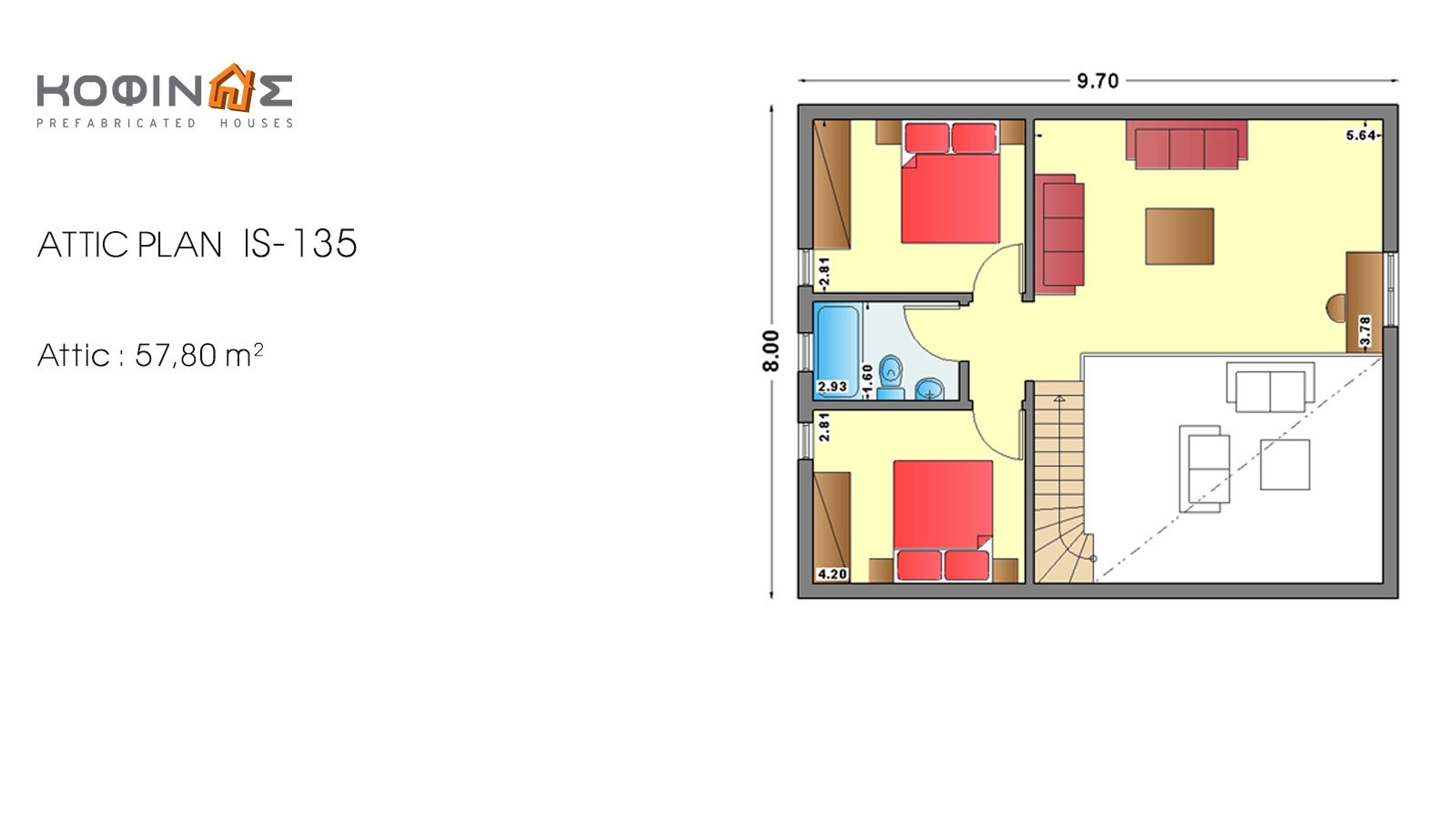 1-story house with attic IS-135, total surface of 135,40 m²