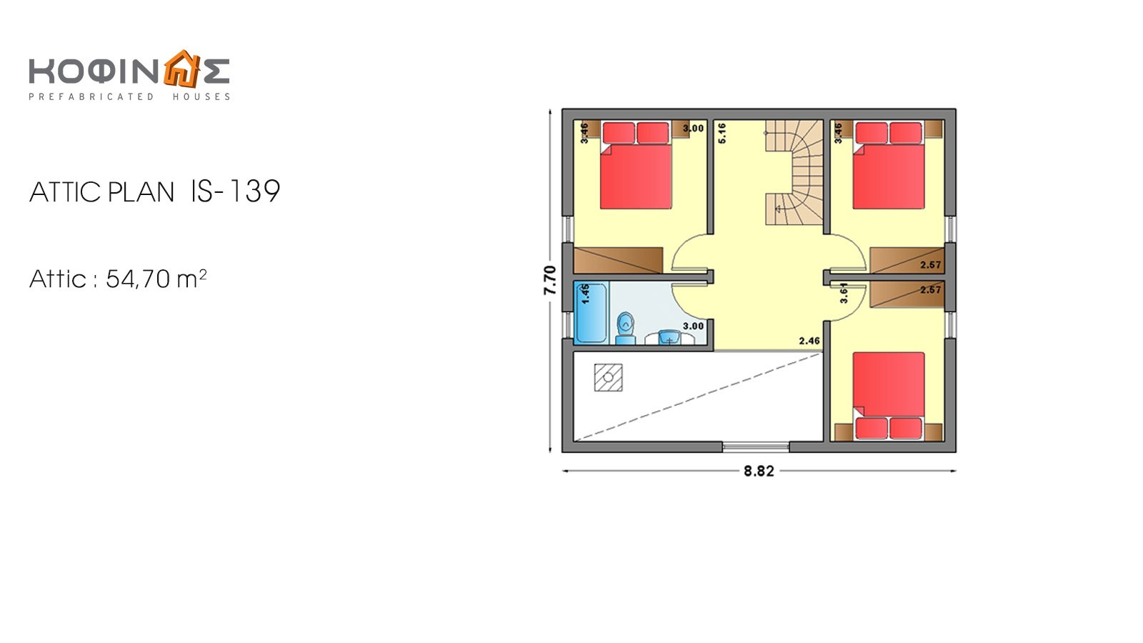 1-story house with attic IS-139, habitable space of 139,70 m²