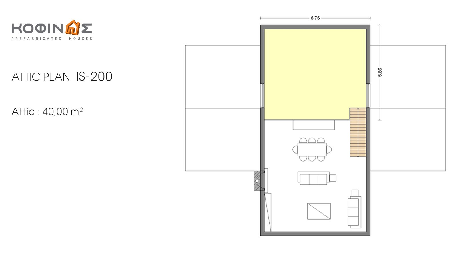 1-story house with attic IS-200, total surface of 200,00 m²