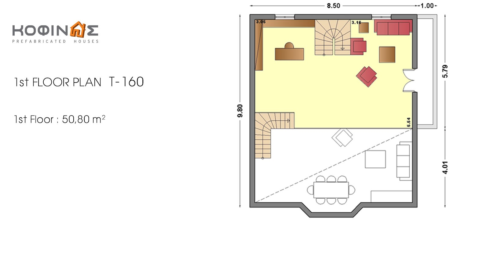 3-story house T-160, total surface of 160,90 m²