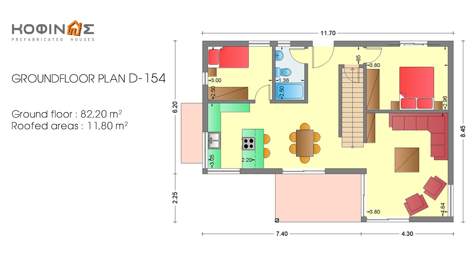 2-story house D-154, total surface of 154,70 m²