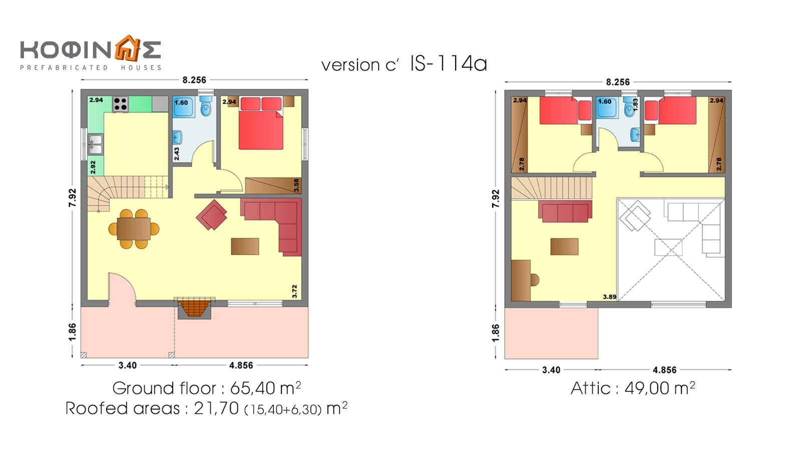 1-story house with attic IS-114a, total surface of 114,40 m²
