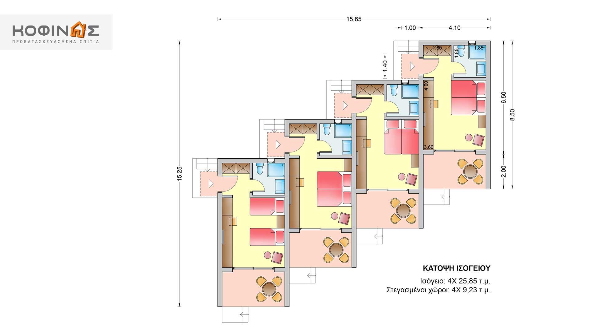 Συγκρότημα Κατοικιών E-25a, συνολικής επιφάνειας 4 x 25,85 = 103.40 τ.μ.