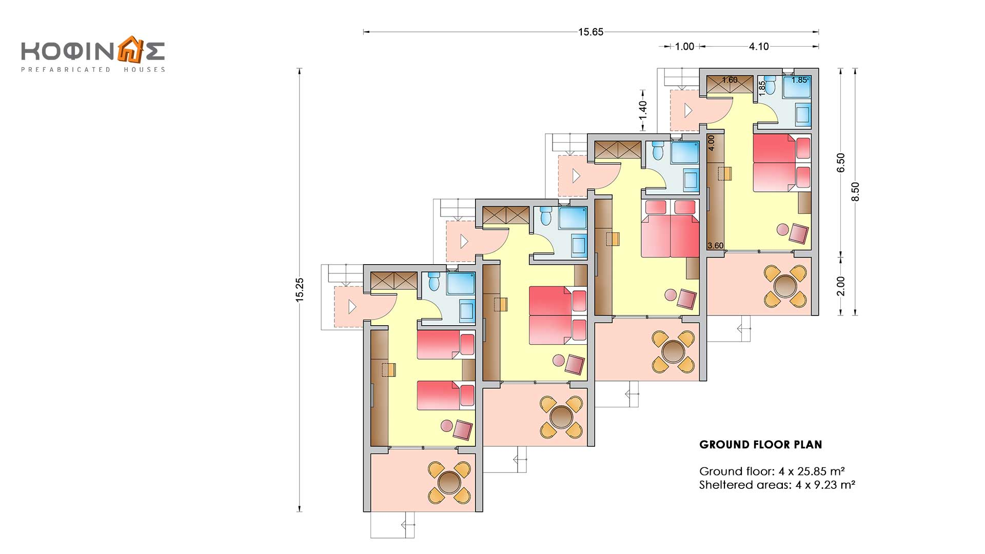 Complex of 1-story houses E-25a, total surface of 4 x 25,85 = 103,40 m²