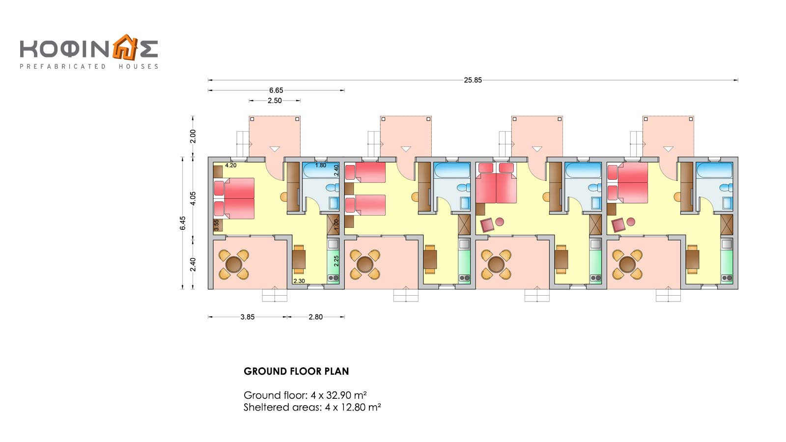 Complex of 1-story houses E-32, total surface of 4 x 32,90 = 131,60 m²