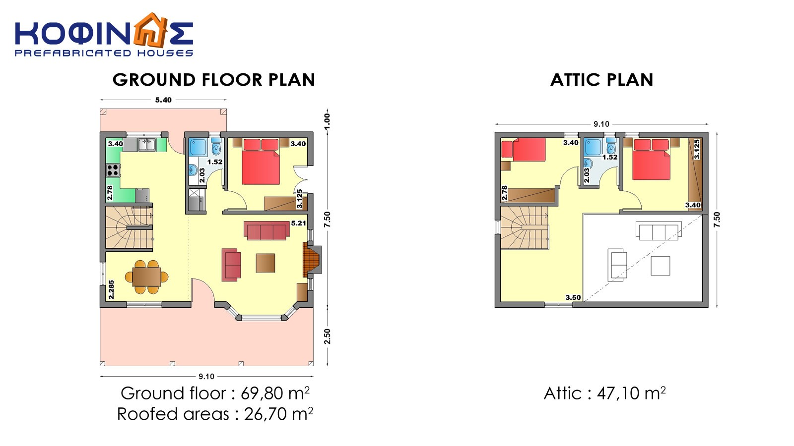 House With Attic 1-story house with attic is-116, habitable space of 116,90 m²