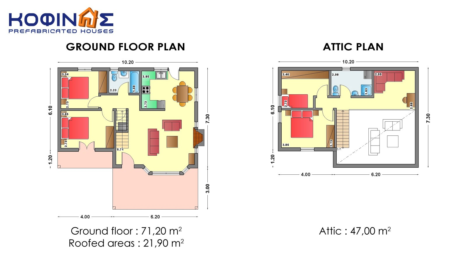 1-story house with attic IS-118, total surface of 118,20 m²