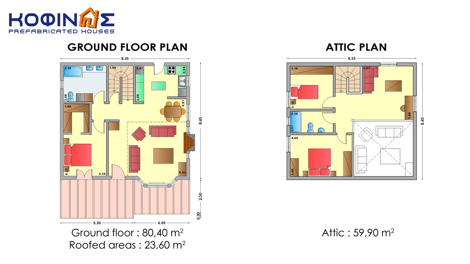1-story house with attic IS-140, total surface of 140,30 m²