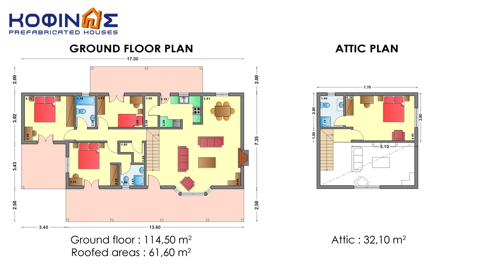 1-story house with attic IS-146, total surface of 146,60 m²