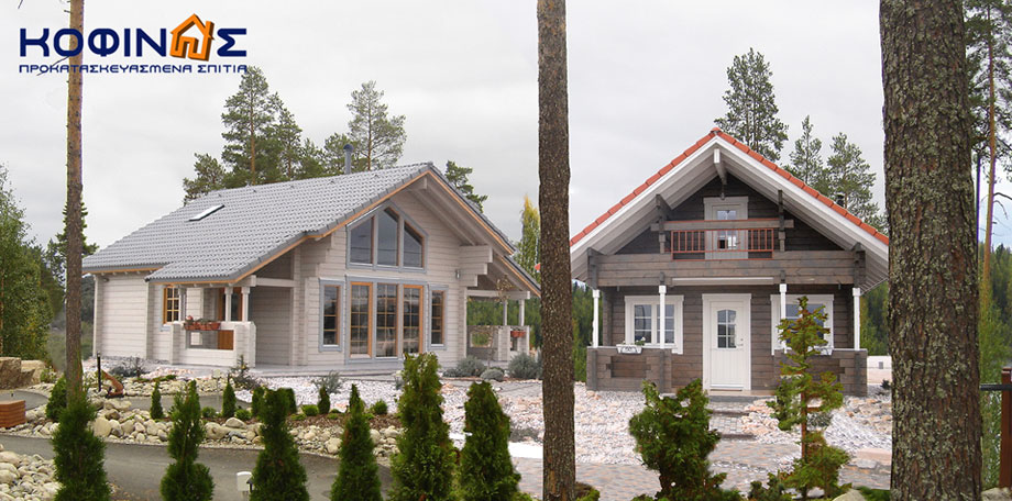 Construction of Finnish log houses for demonstration purposes at the Markopoulo showroom