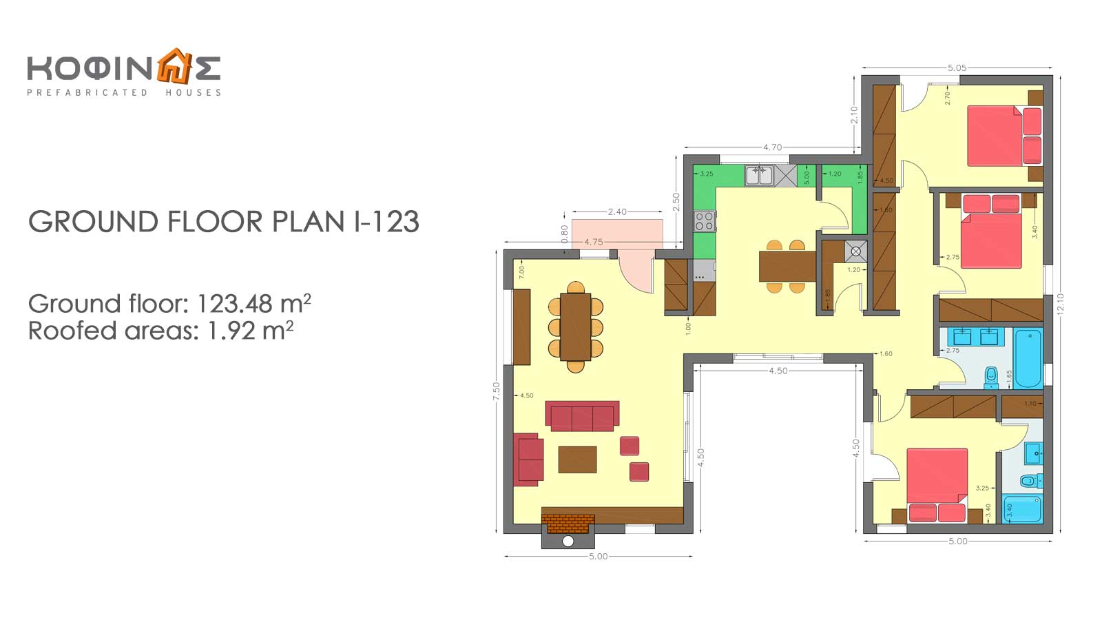 1-story house I-123, total surface of 123,48 m²