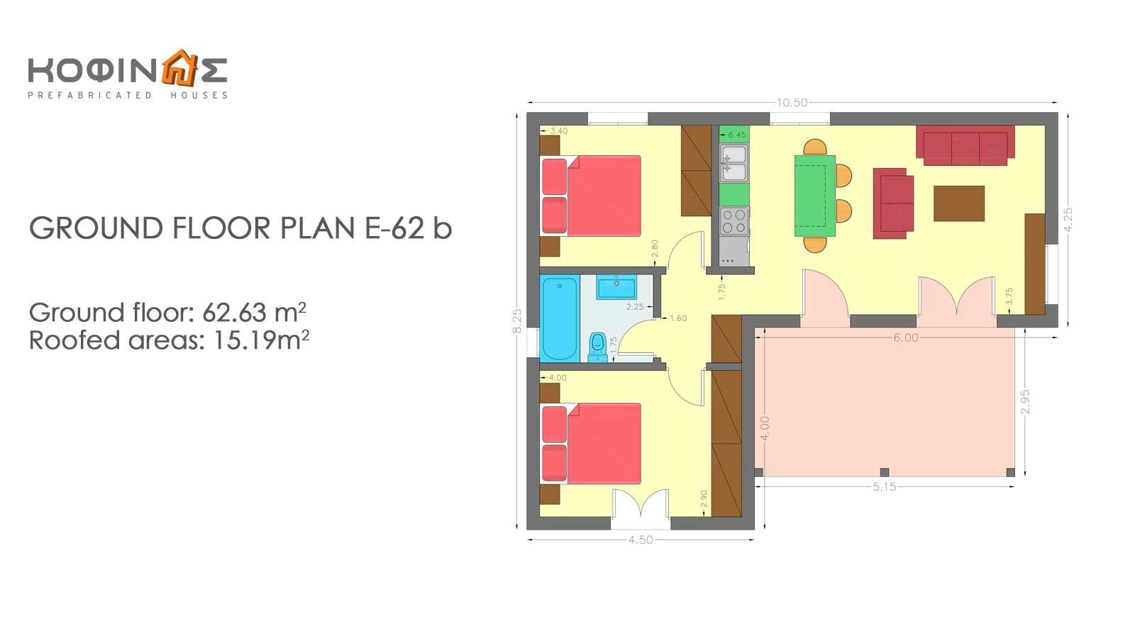 Complex of 1-story houses E-62b, total surface of 3 x 62,63 = 187,89 m²