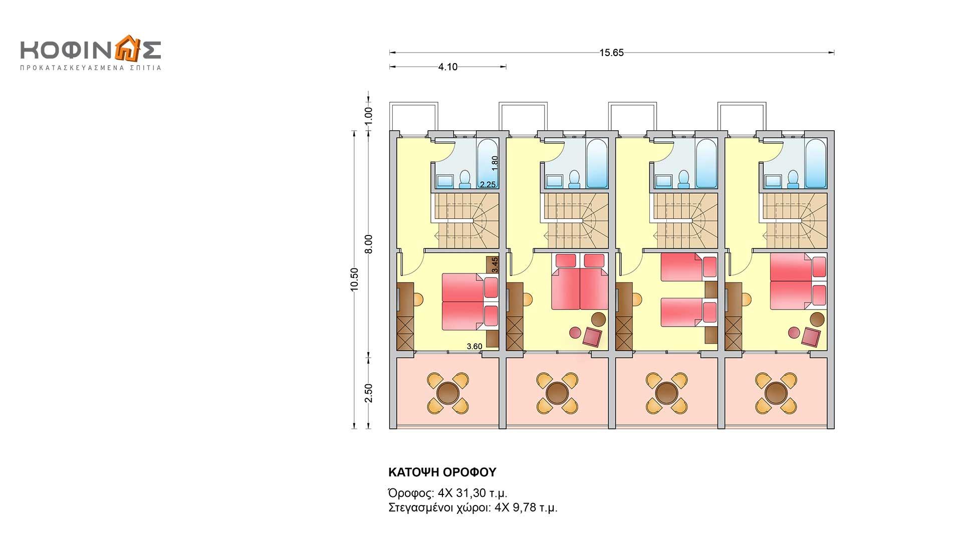 Συγκρότημα Κατοικιών E-62, συνολικής επιφάνειας 4 x 62,60 = 250,40 τ.μ.