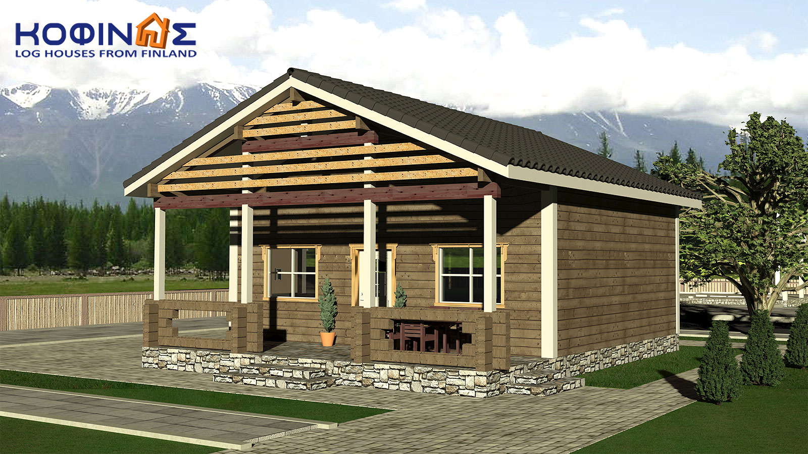 2-story log house XD-102, total surface of 102,52 m²0