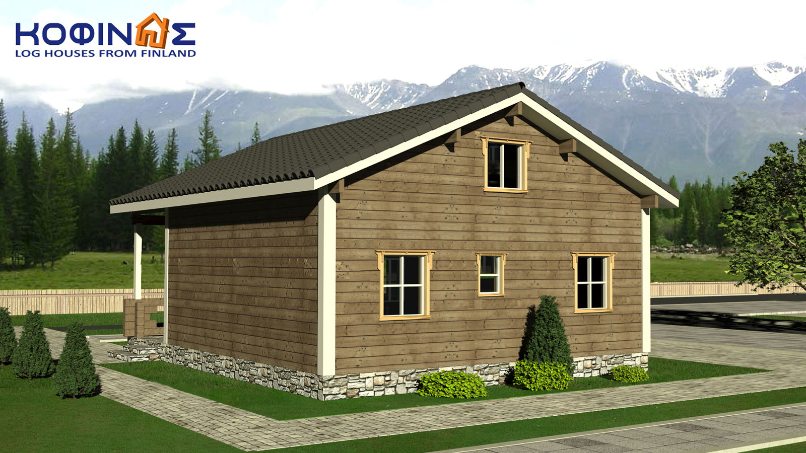 2-story log house XD-102, total surface of 102,52 m²1