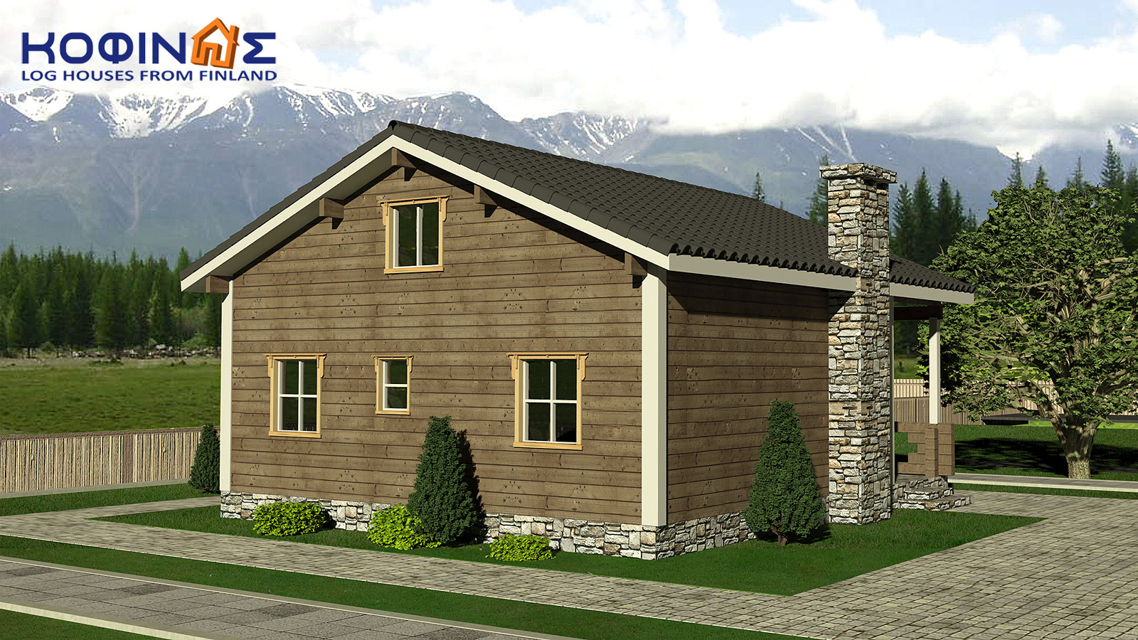 2-story log house XD-102, total surface of 102,52 m²2