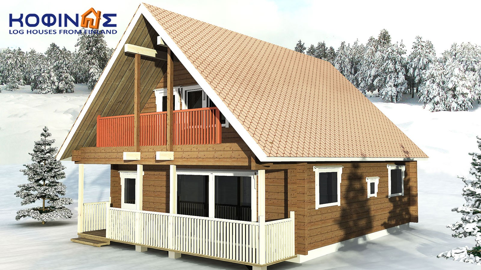 2-story log house XD-108, total surface of 108,40 m²0