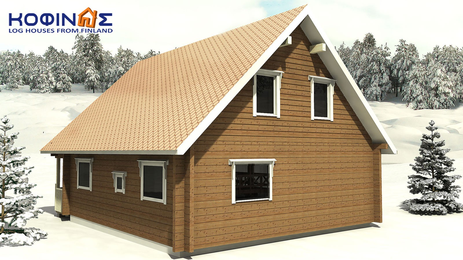 2-story log house XD-108, total surface of 108,40 m²1