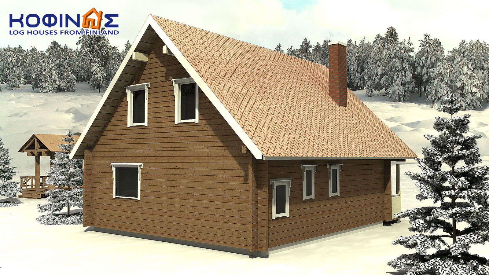 2-story log house XD-108, total surface of 108,40 m²2