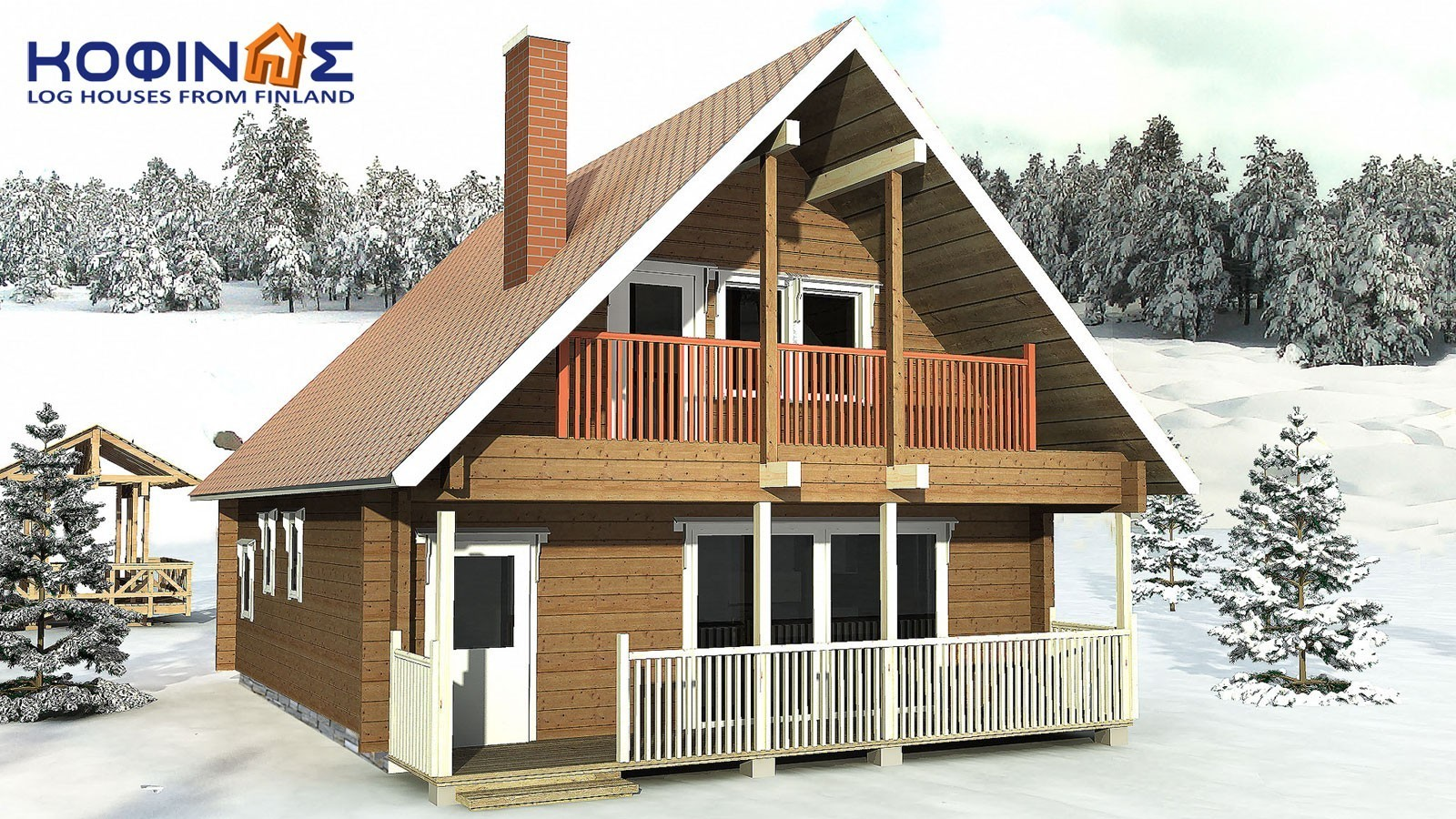 2-story log house XD-108, habitable space of 108,40 m²