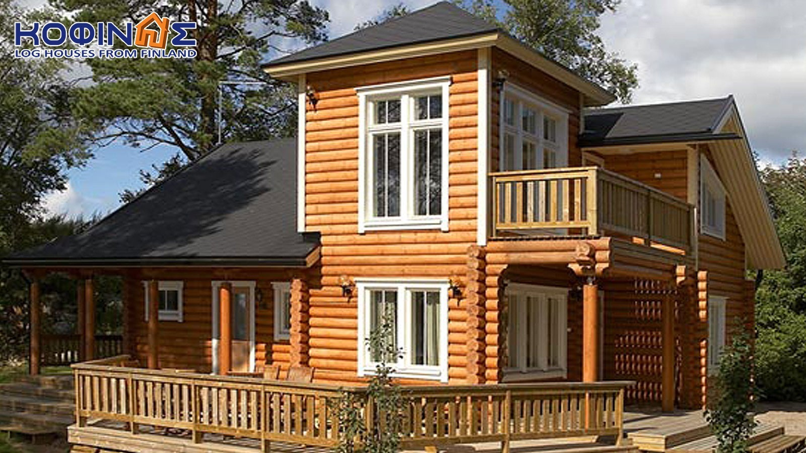 2-story log house XD-124, total surface of 124,90 m²