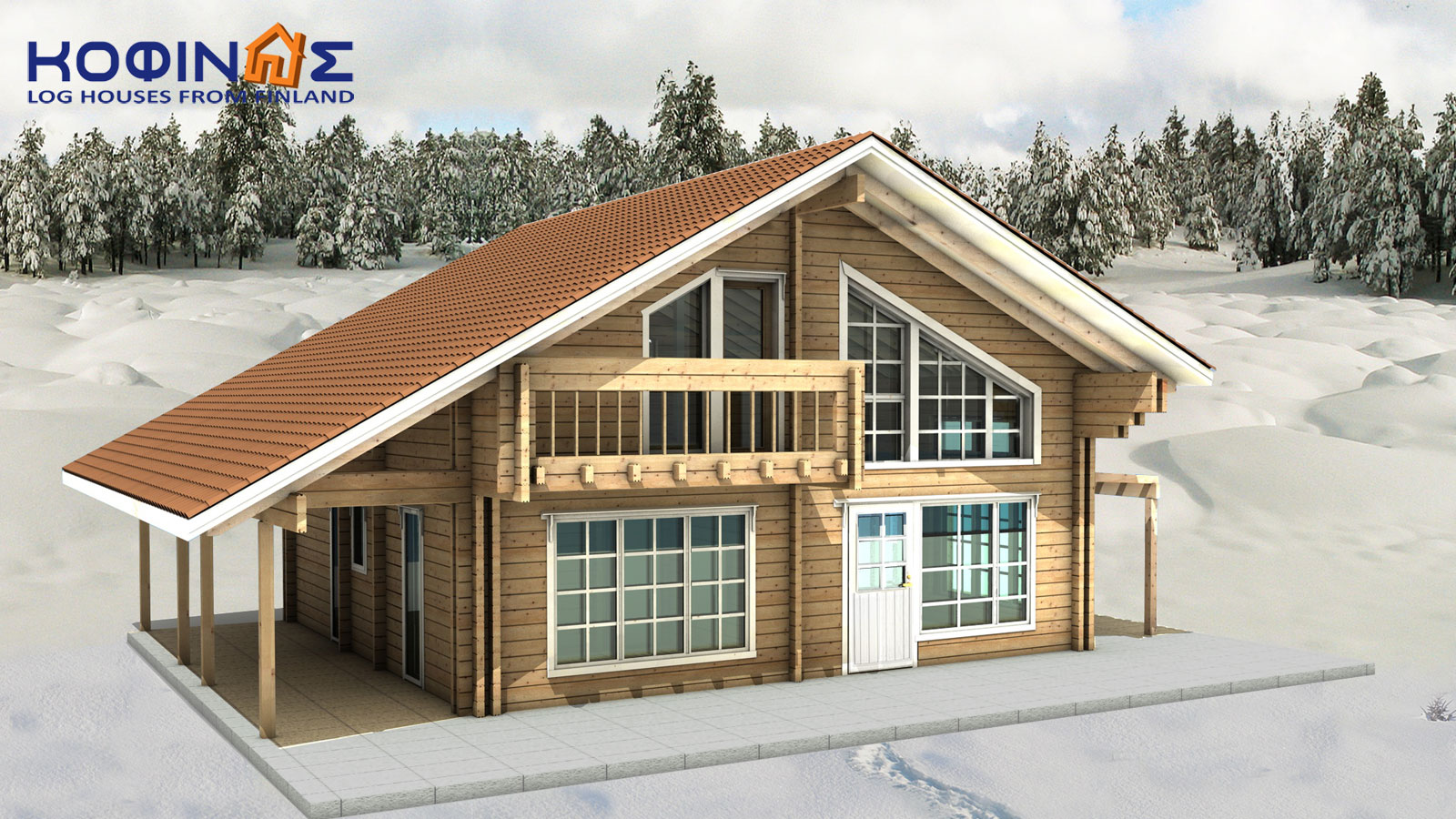 2-story log house XD-132a, total surface of 132,80 m²