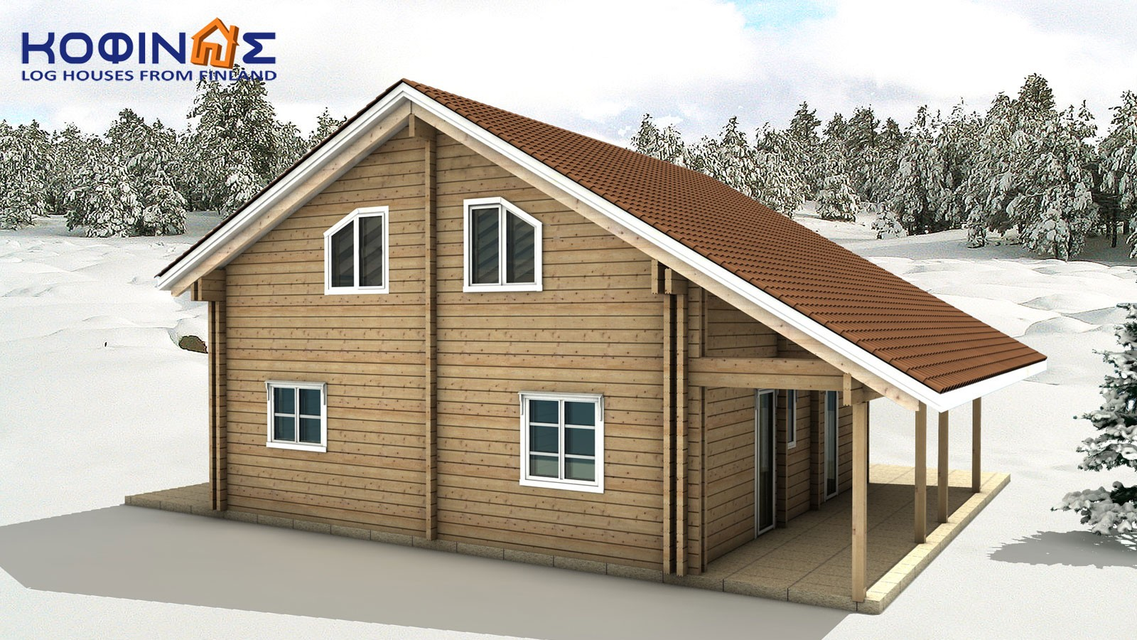 2-story log house XD-132, total surface of 132,80 m²