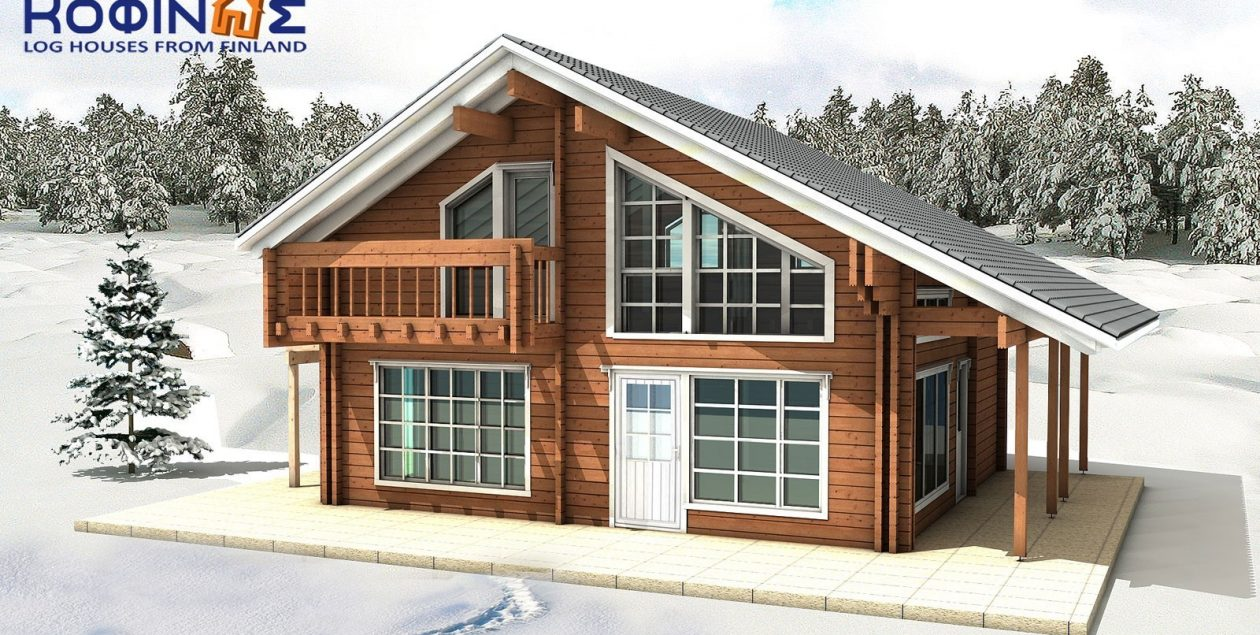 2-story log house XD-132a, total surface of 132,80 m² featured image