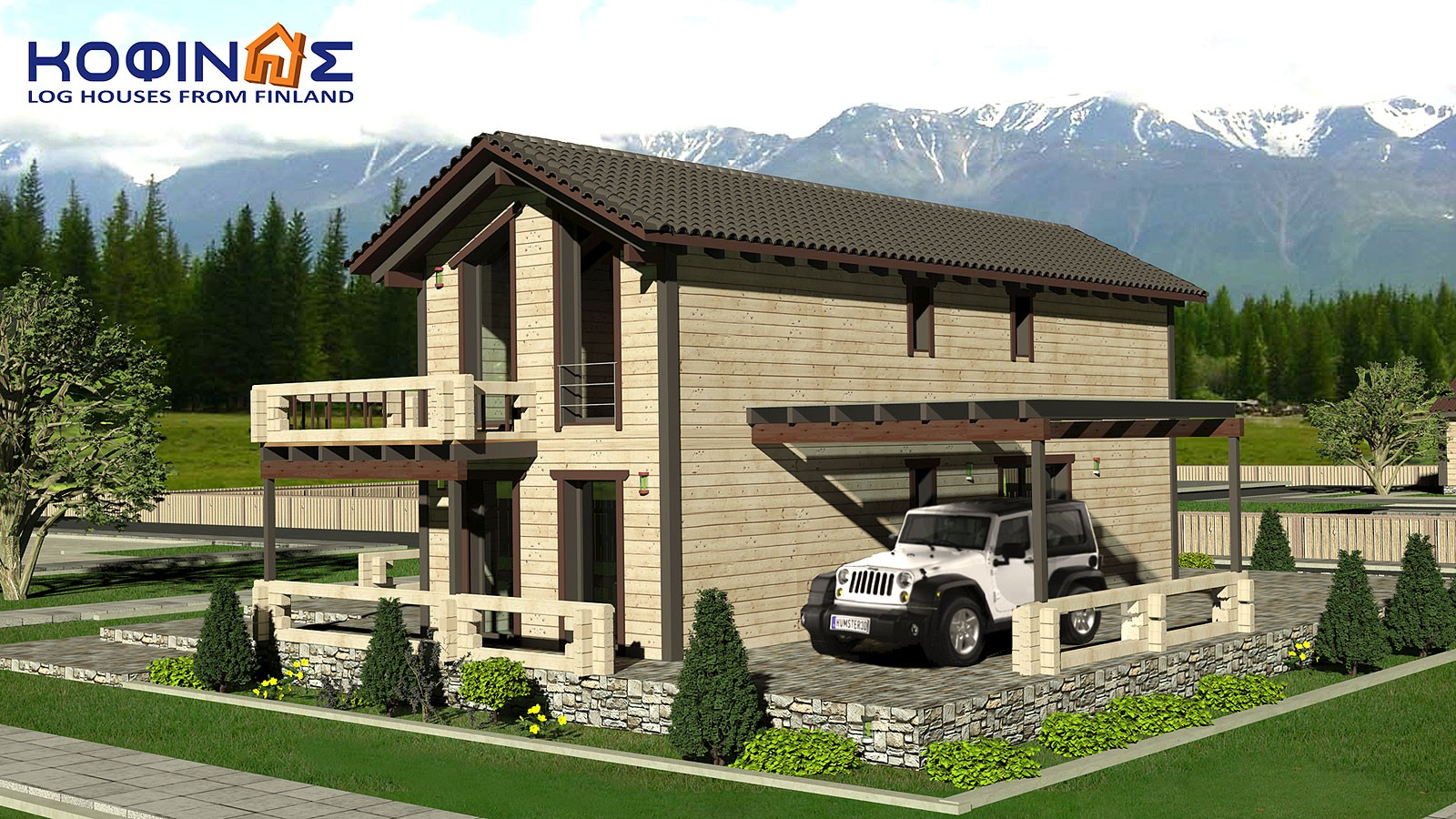 2-story log house XD-141, habitable space of 141,70 m²