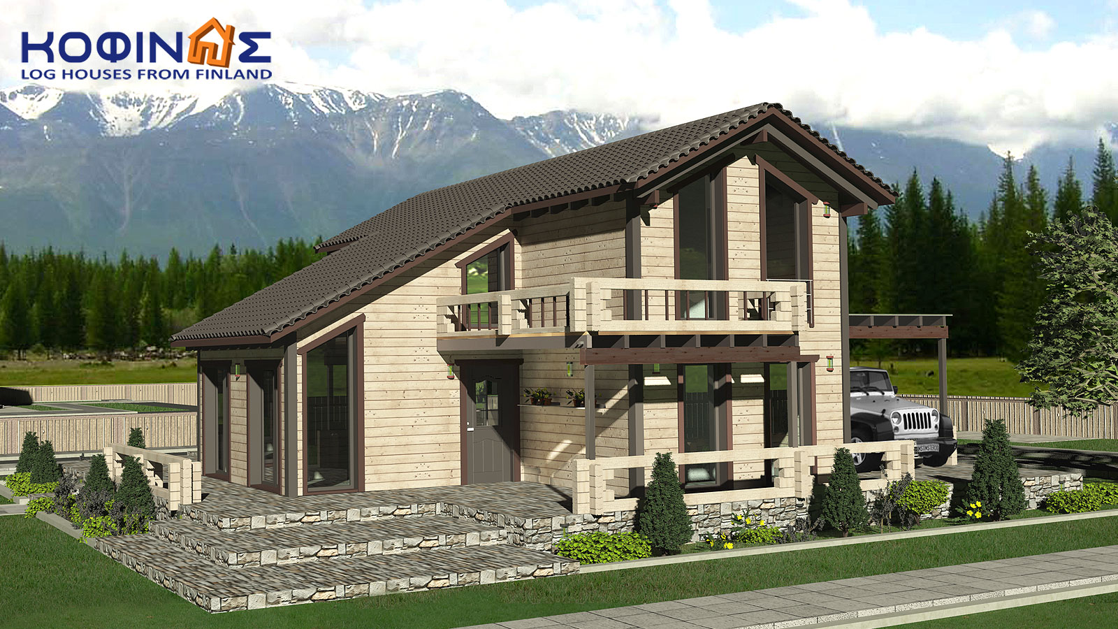 2-story log house XD-141, total surface of 141,70 m²