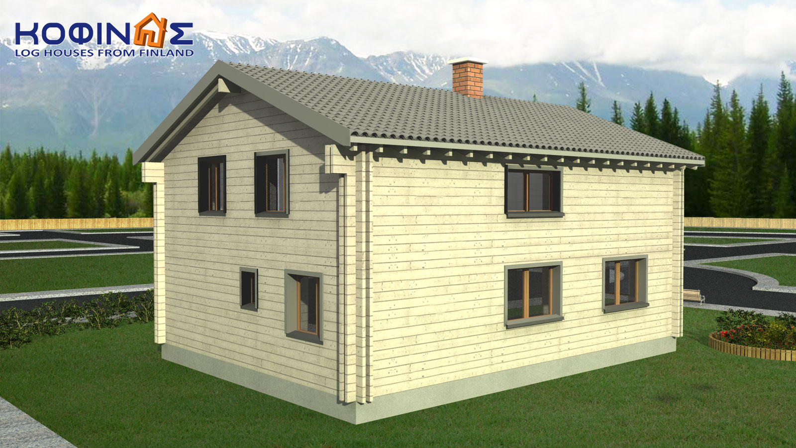2-story log house XD-160, total surface of 160,40 m²1