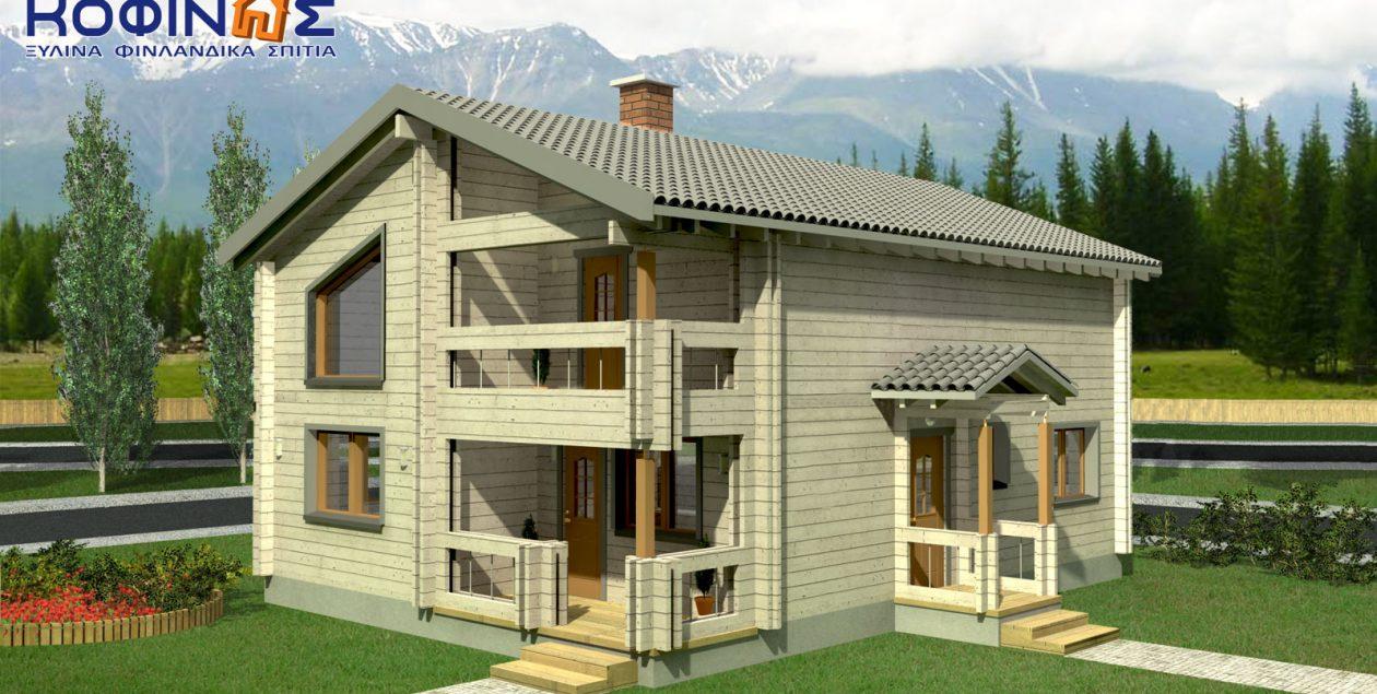 Διώροφη Ξύλινη Κατοικία XD-160, συνολικής επιφάνειας 160,40 τ.μ. featured image