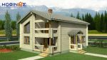 2-story log house XD-160, total surface of 160,40 m²