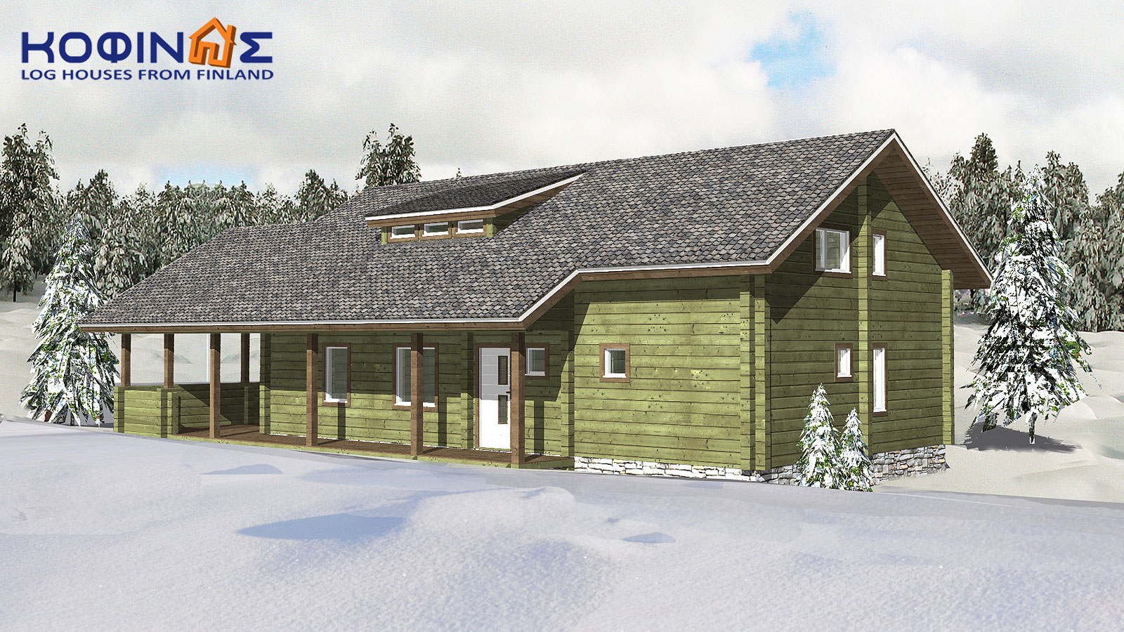 2-story log house XD-174, total surface of 174,20 m²