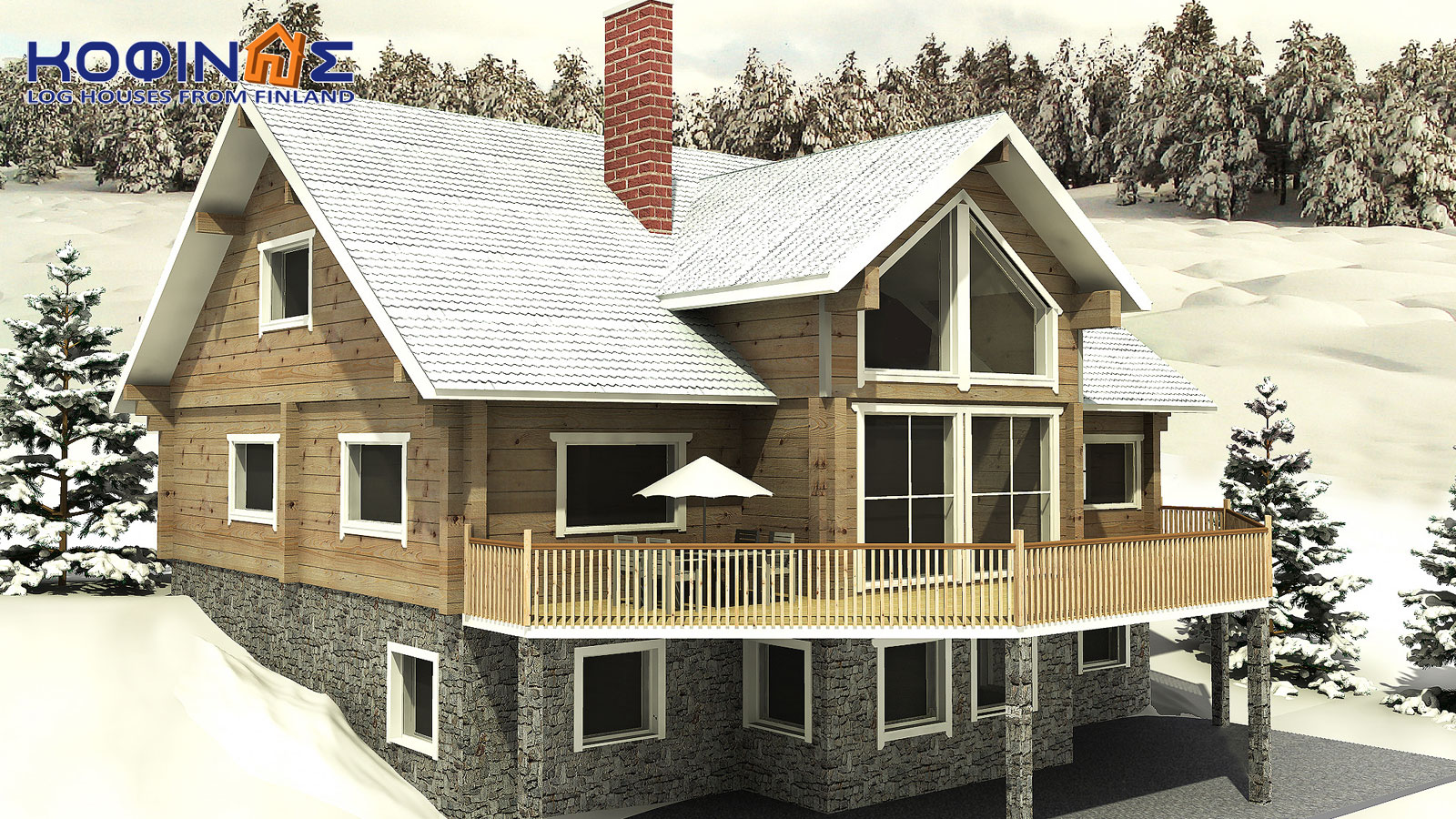 2-story log house XD-270, total surface of 270,20 m²