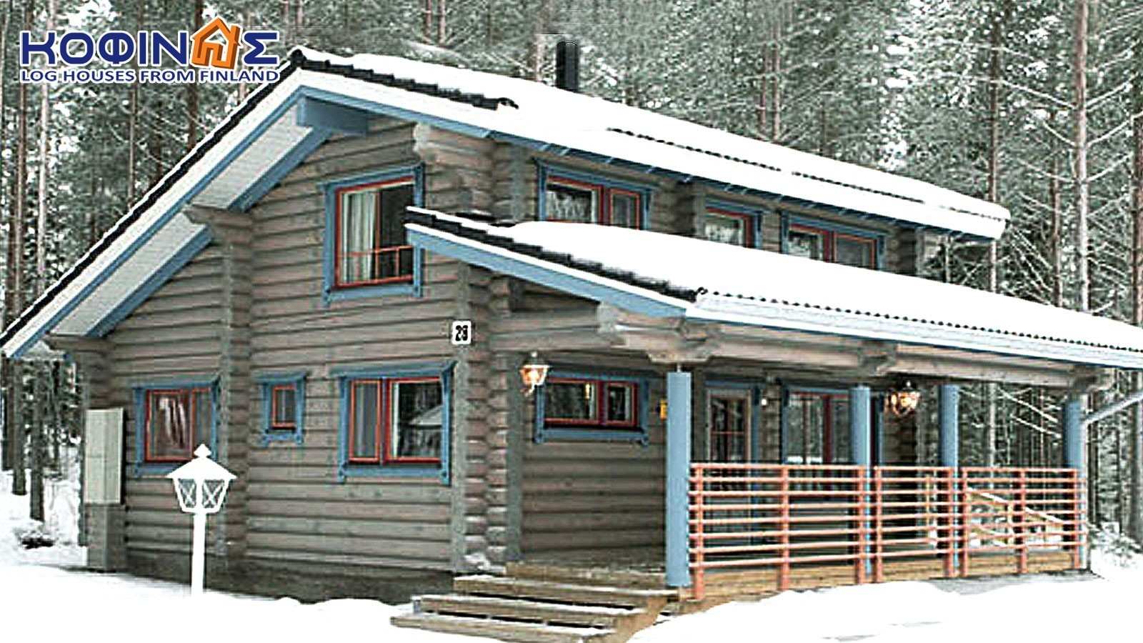 2-story log house XD-77, total surface of 77,20 m²