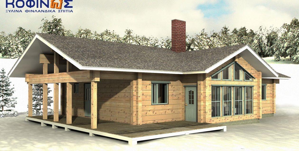 Ισόγεια Ξύλινη Κατοικία XI-130, συνολικής επιφάνειας 130,00 τ.μ. featured image