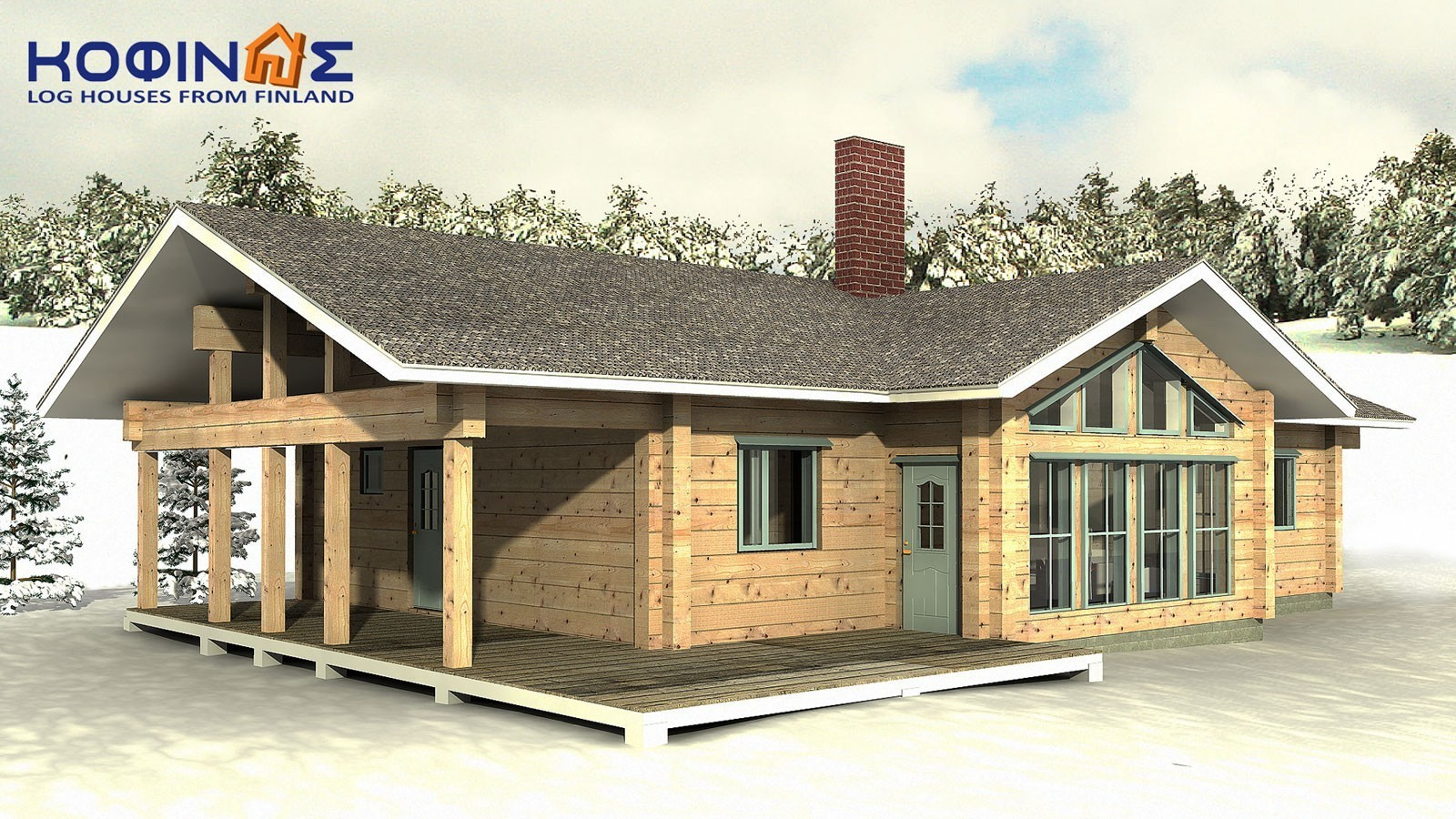 1-story log house XI-130, total surface of 130,00 m²